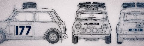 Technical drawings of a Mini - made to look a little yesteryear