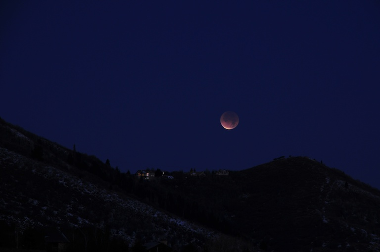 Lunar eclipse about 5 minutes before total phase began. Park City, Utah