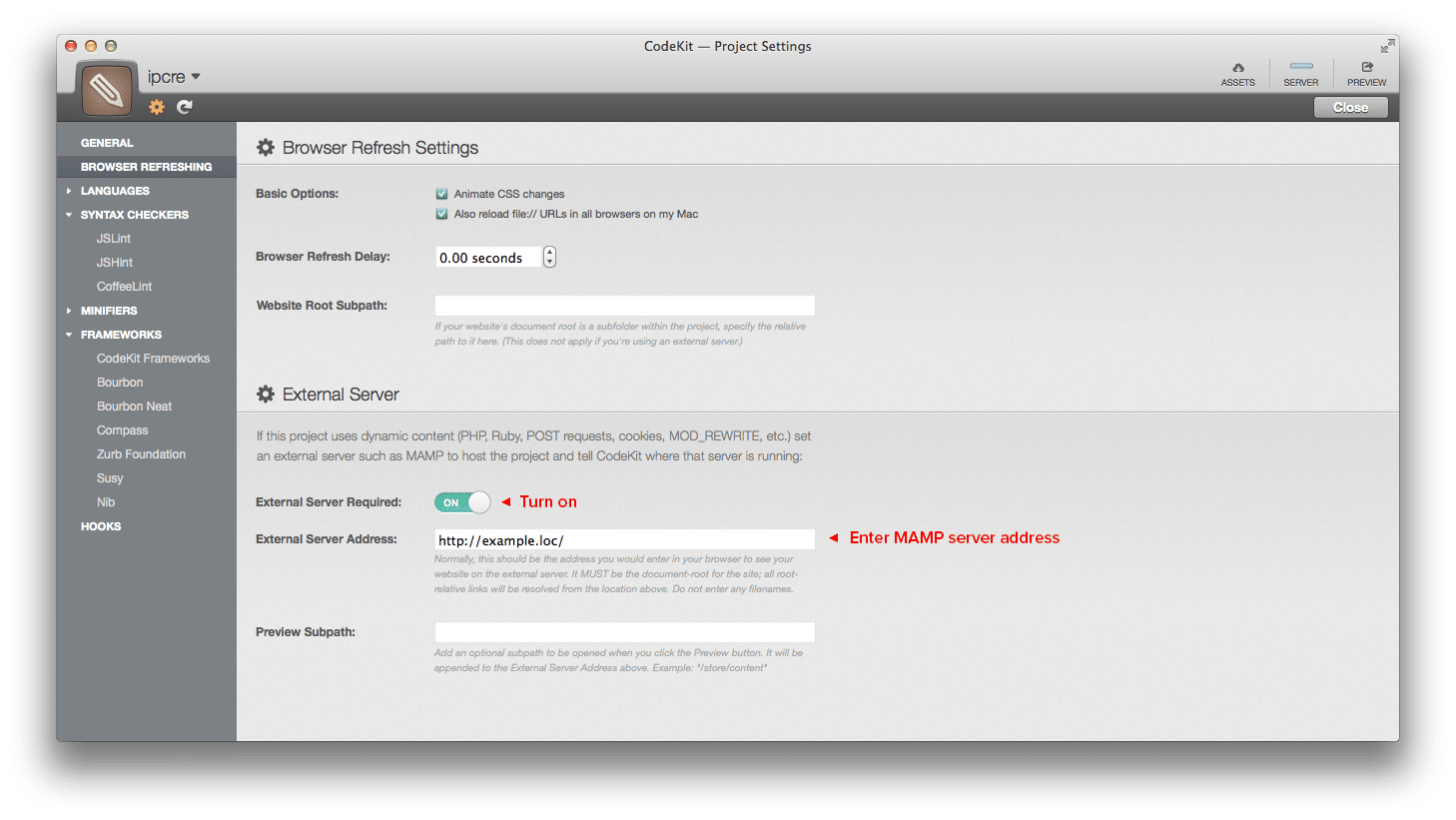 Codekit External Server Settings Panel