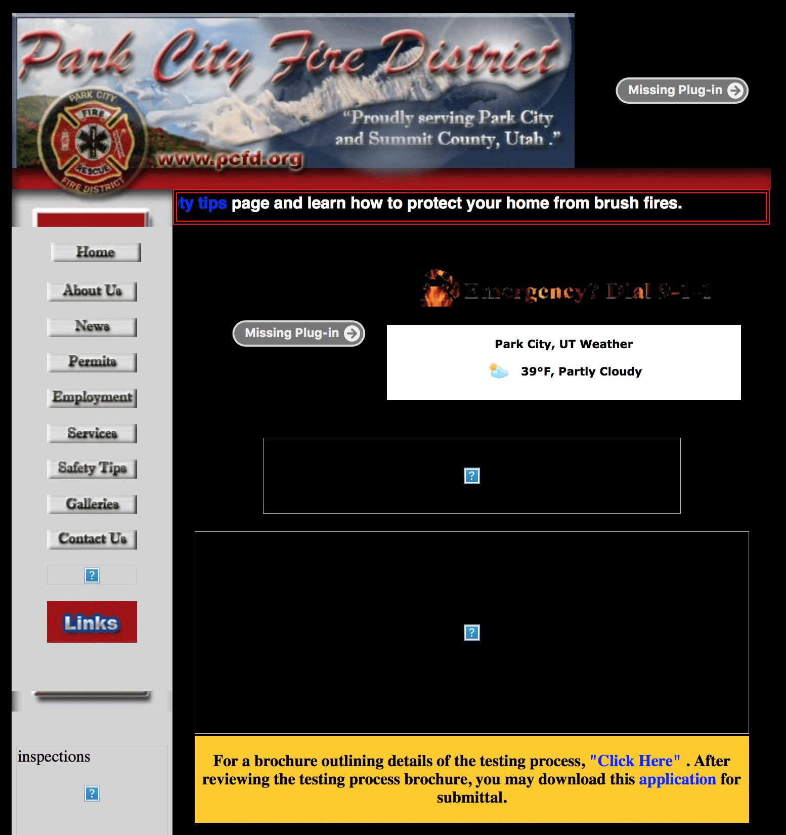 PCFD website, circa 2008